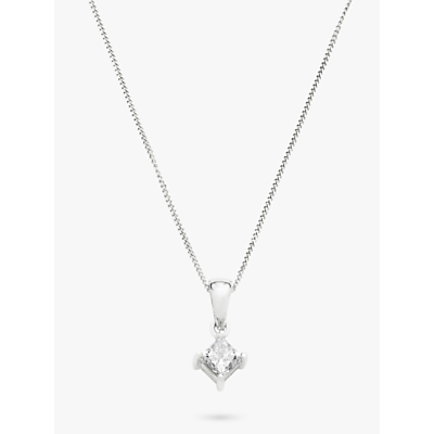 Diamond Collection 18ct White Gold Princess Cut Solitaire Diamond Pendant Necklace, 0.5ct