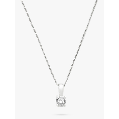 Diamond Collection 18ct White Gold Round Brilliant Solitaire Diamond Pendant Necklace, 0.5ct