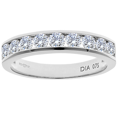 Diamond Collection 18ct White Gold Round Brilliant Channel Set Diamond Eternity Ring, 0.5ct