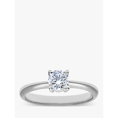 Diamond Collection 18ct White Gold Round Brilliant Diamond Engagement Ring, 0.33ct