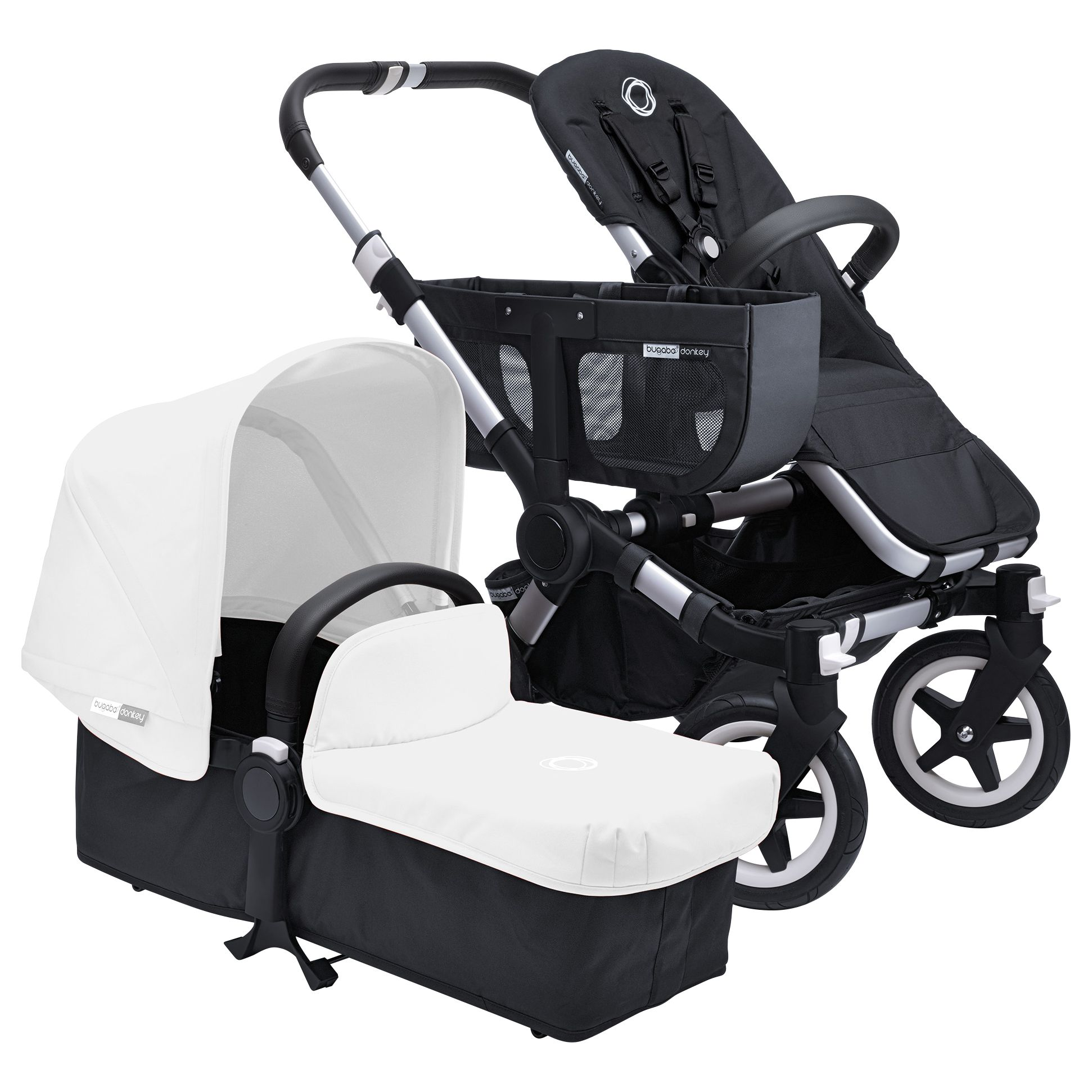 Bugaboo Bugaboo Donkey Base Pushchair Chassis and Carrycot 2016, Black/Aluminium