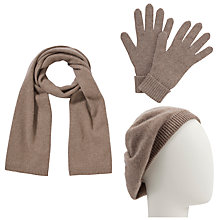 Buy John Lewis Cashmere Scarf, Beret and Gloves Set, Toast Online at johnlewis.com