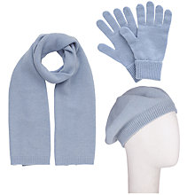 Buy John Lewis Cashmere Scarf, Beret and Gloves Set, Light Blue Online at johnlewis.com