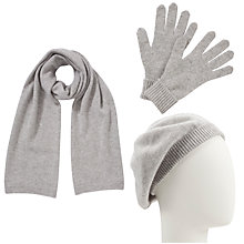 Buy John Lewis Cashmere Scarf, Beret and Gloves Set, Light Grey Online at johnlewis.com