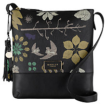 Buy Radley Herbarium Medium Zip-Top Across Body Bag, Black Online at johnlewis.com