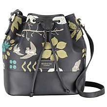 Buy Radley Herbarium Medium Drawstring Leather Across Body Bag, Black Online at johnlewis.com