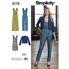 Buy Simplicity Women's Jumpsuit Sewing Pattern, 8178 Online at johnlewis.com