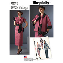 Buy Simplicity Women's Vintage Jacket and Dress Sewing Pattern, 8245 Online at johnlewis.com