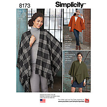 Buy Simplicity Misses' Women's Poncho Sewing Pattern, 8173 Online at johnlewis.com