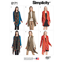 Buy Simplicity Misses' Women's Cardigan Sewing Pattern, 8171 Online at johnlewis.com