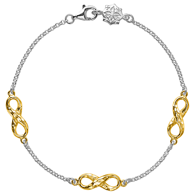 Dower & Hall 18ct Gold Vermeil Triple Infinity Bracelet, Silver/Gold