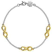 Buy Dower & Hall 18ct Gold Vermeil Triple Infinity Bracelet, Silver/Gold Online at johnlewis.com