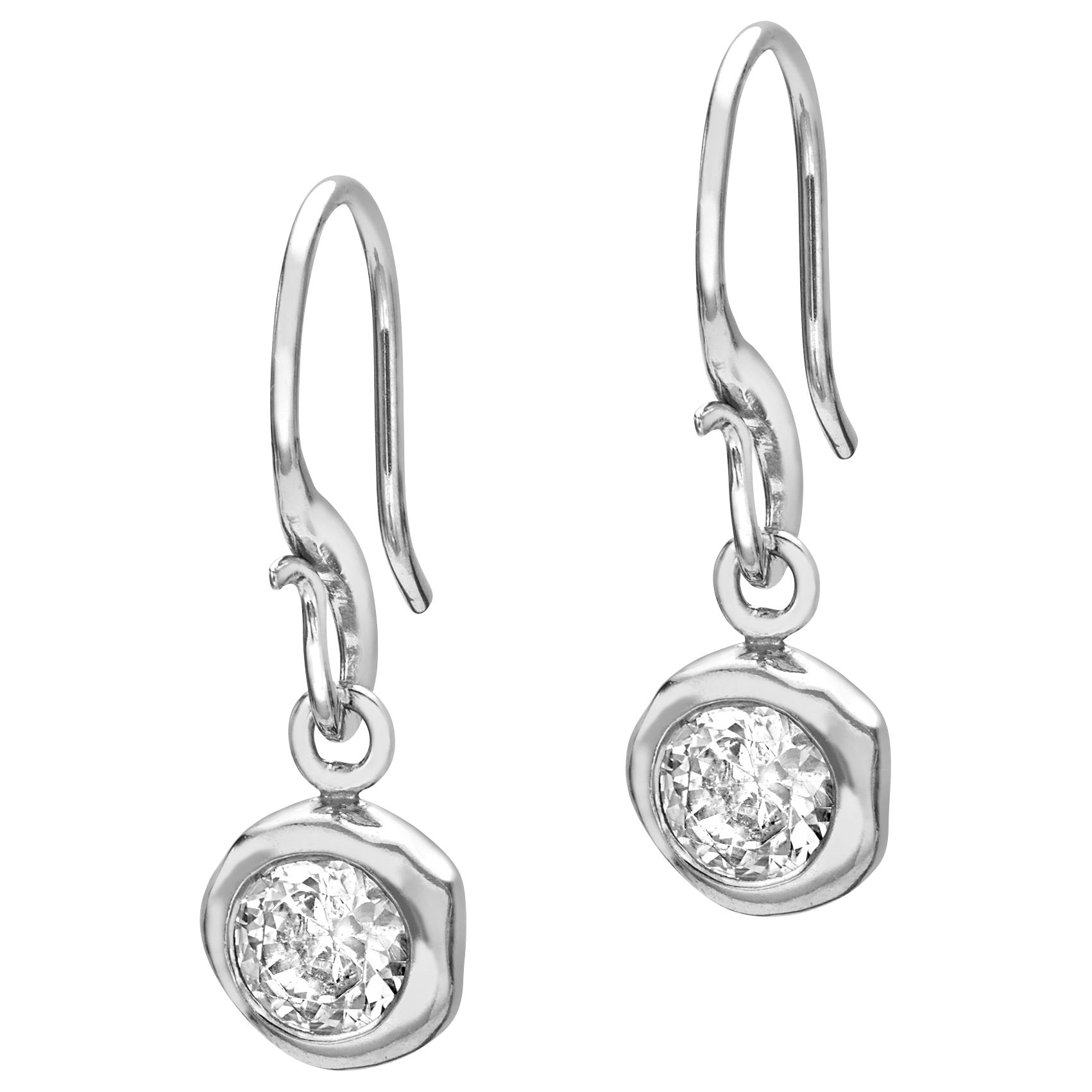 Dower & Hall Dower & Hall Sterling Silver White Topaz Dewdrop Earrings, Silver