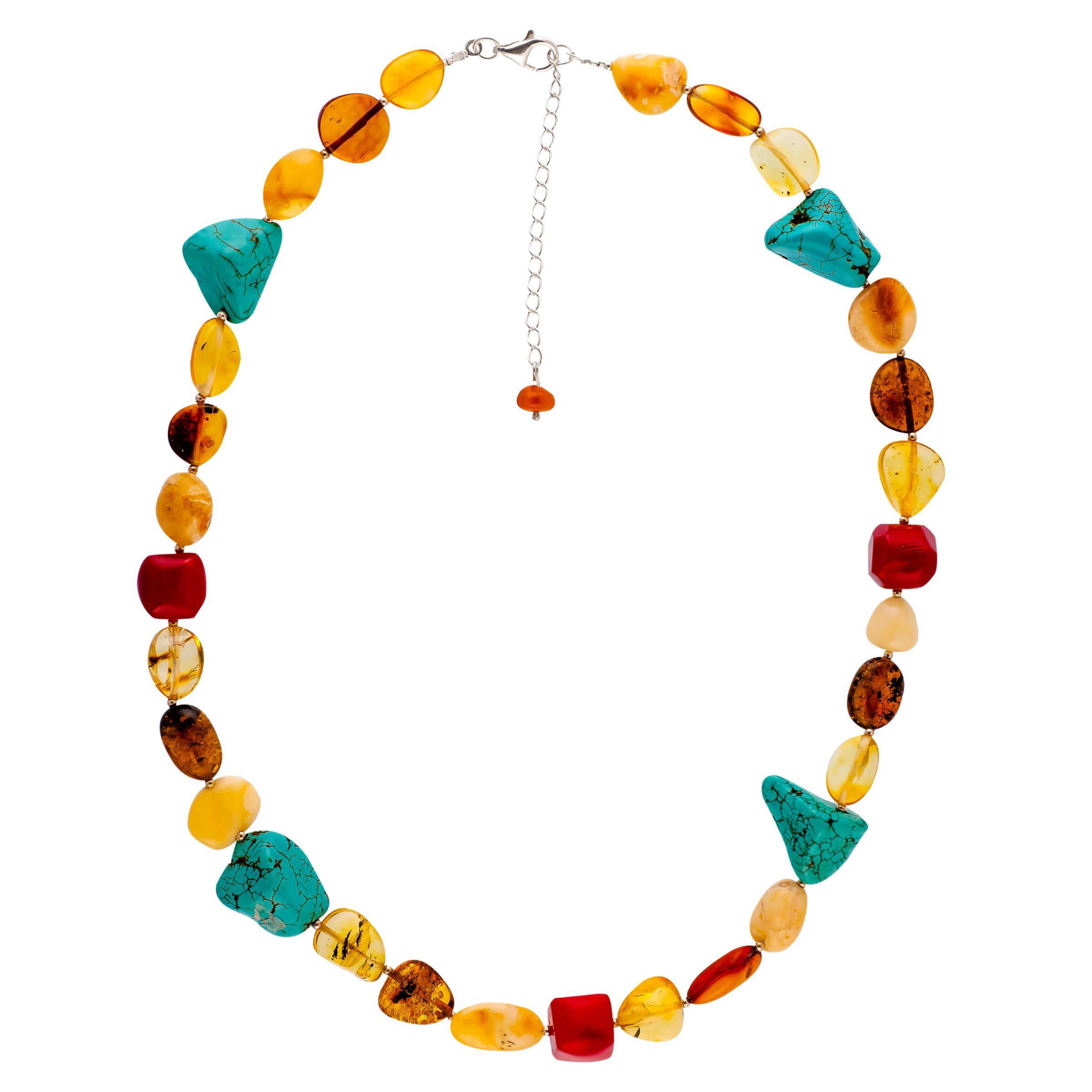 Be-Jewelled Be-Jewelled Sterling Silver Faceted Bead Necklace, Multi