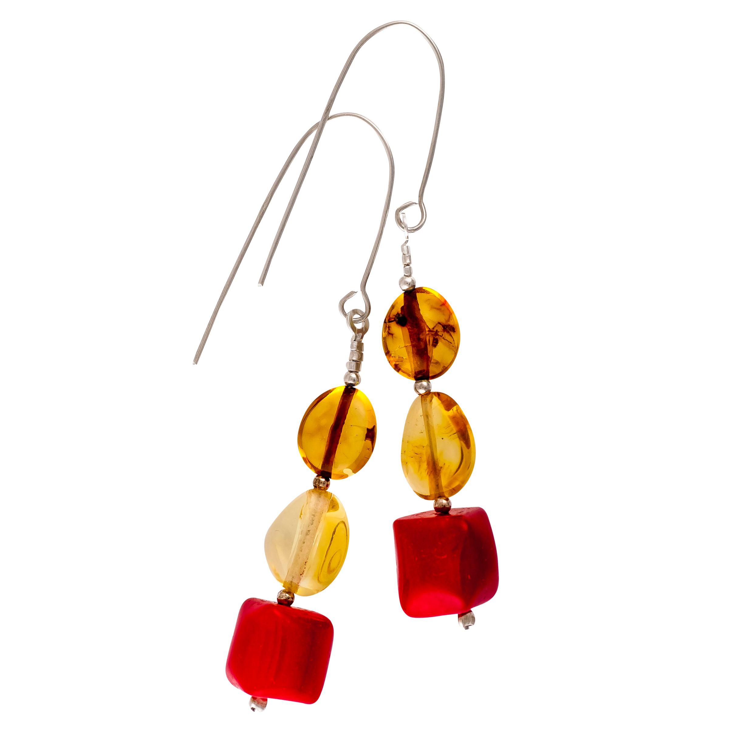 Be-Jewelled Be-Jewelled Sterling Silver Amber Drop Earrings, Multi