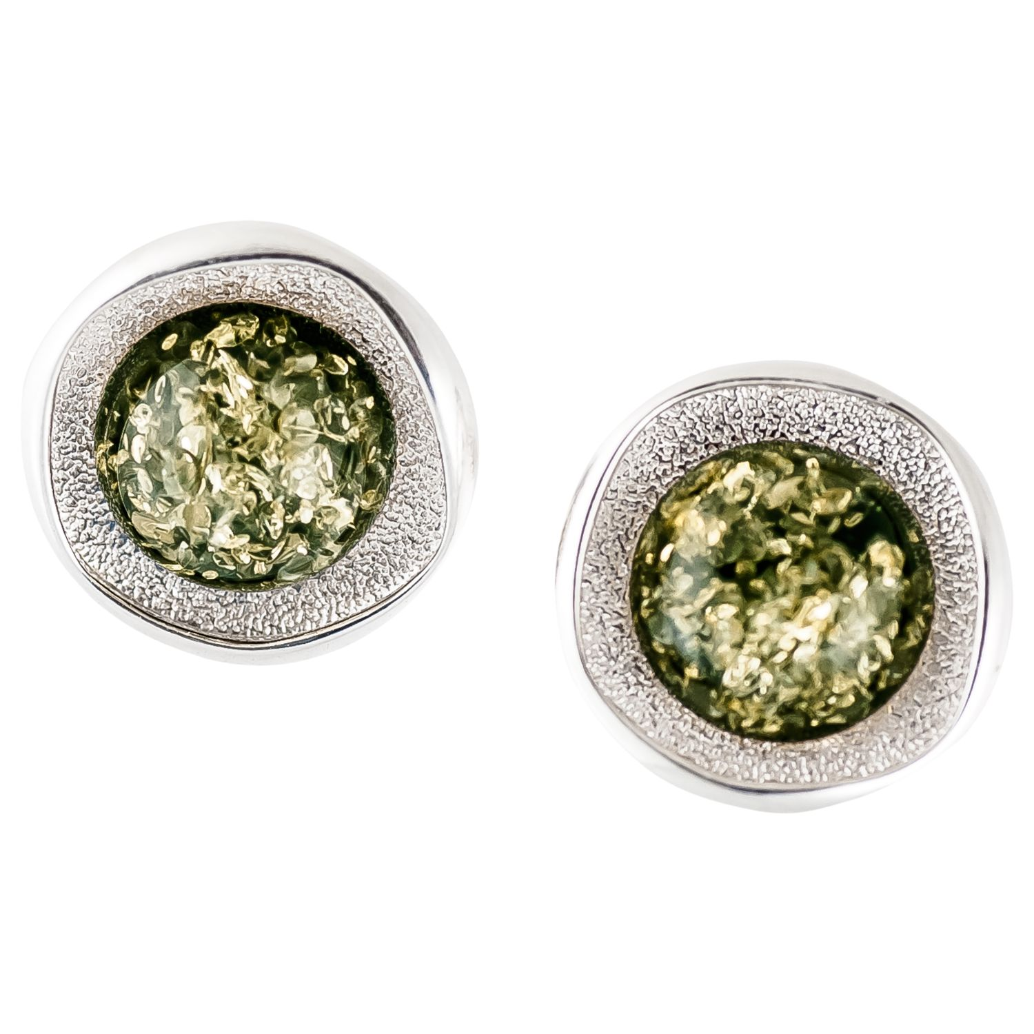 Be-Jewelled Be-Jewelled Amber and Textured Sterling Silver Stud Earrings, Green