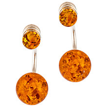 Buy Be-Jewelled Cognac Amber Sterling Silver Double Bead Earrings, Amber Online at johnlewis.com