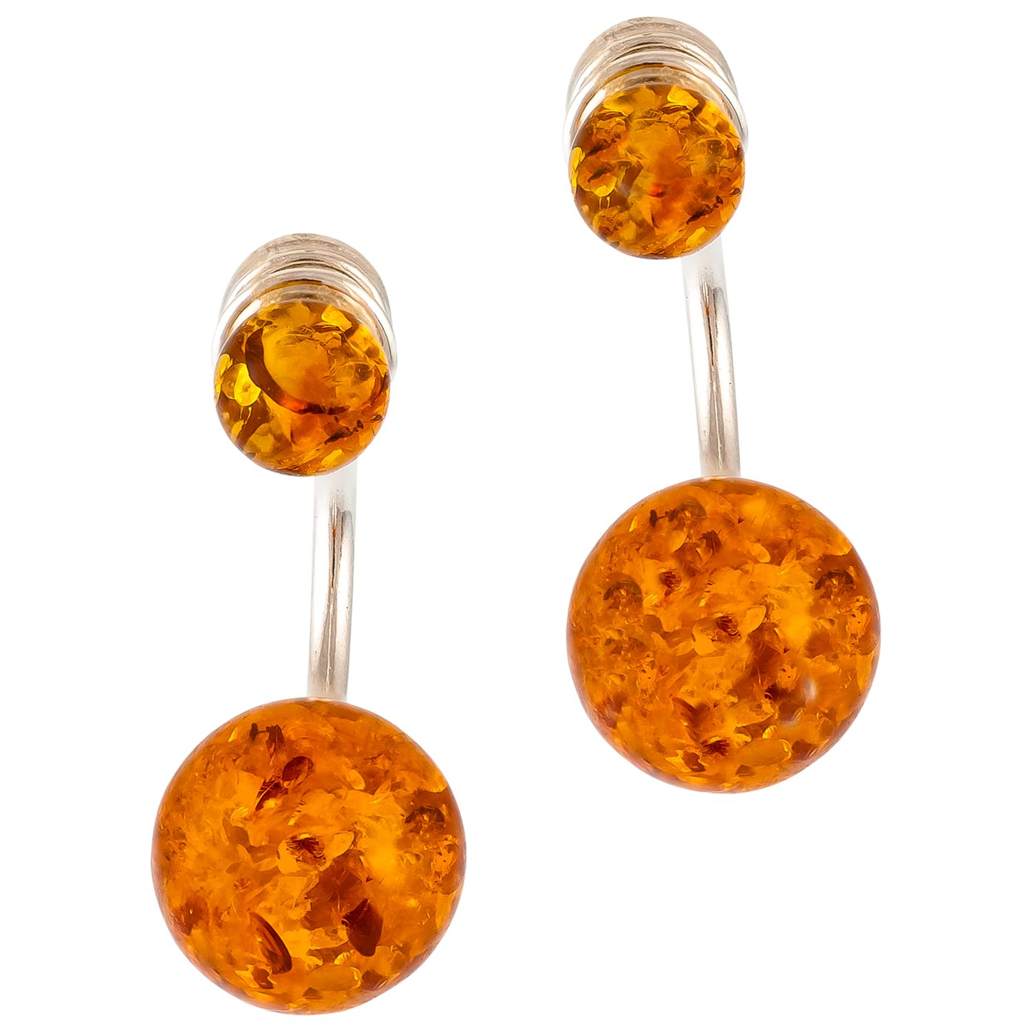 Be-Jewelled Be-Jewelled Cognac Amber Sterling Silver Double Bead Earrings, Amber
