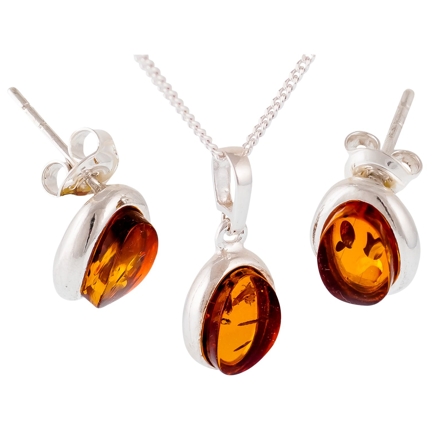 Be-Jewelled Be-Jewelled Sterling Silver Amber Pendant and Stud Earrings Gift Set, Amber