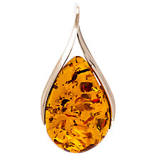 Buy Be-Jewelled Cognac Amber Sterling Silver Teardrop Pendant, Amber Online at johnlewis.com