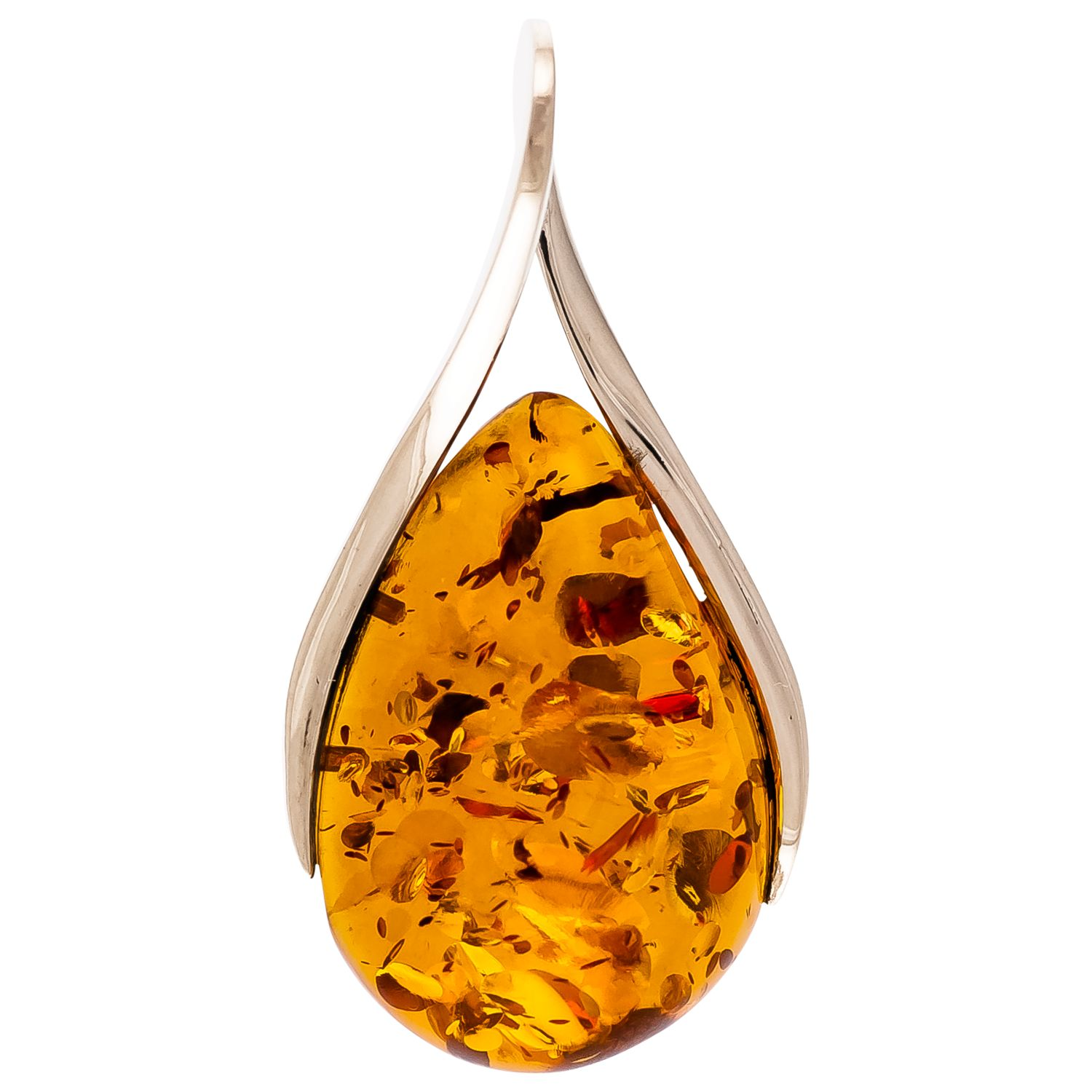 Be-Jewelled Be-Jewelled Cognac Amber Sterling Silver Teardrop Pendant, Amber
