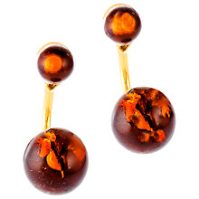 Buy Be-Jewelled Cognac Amber Gold Plated Double Bead Earrings, Amber Online at johnlewis.com