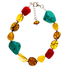 Buy Be-Jewelled Sterling Silver Amber Bracelet, Multi Online at johnlewis.com