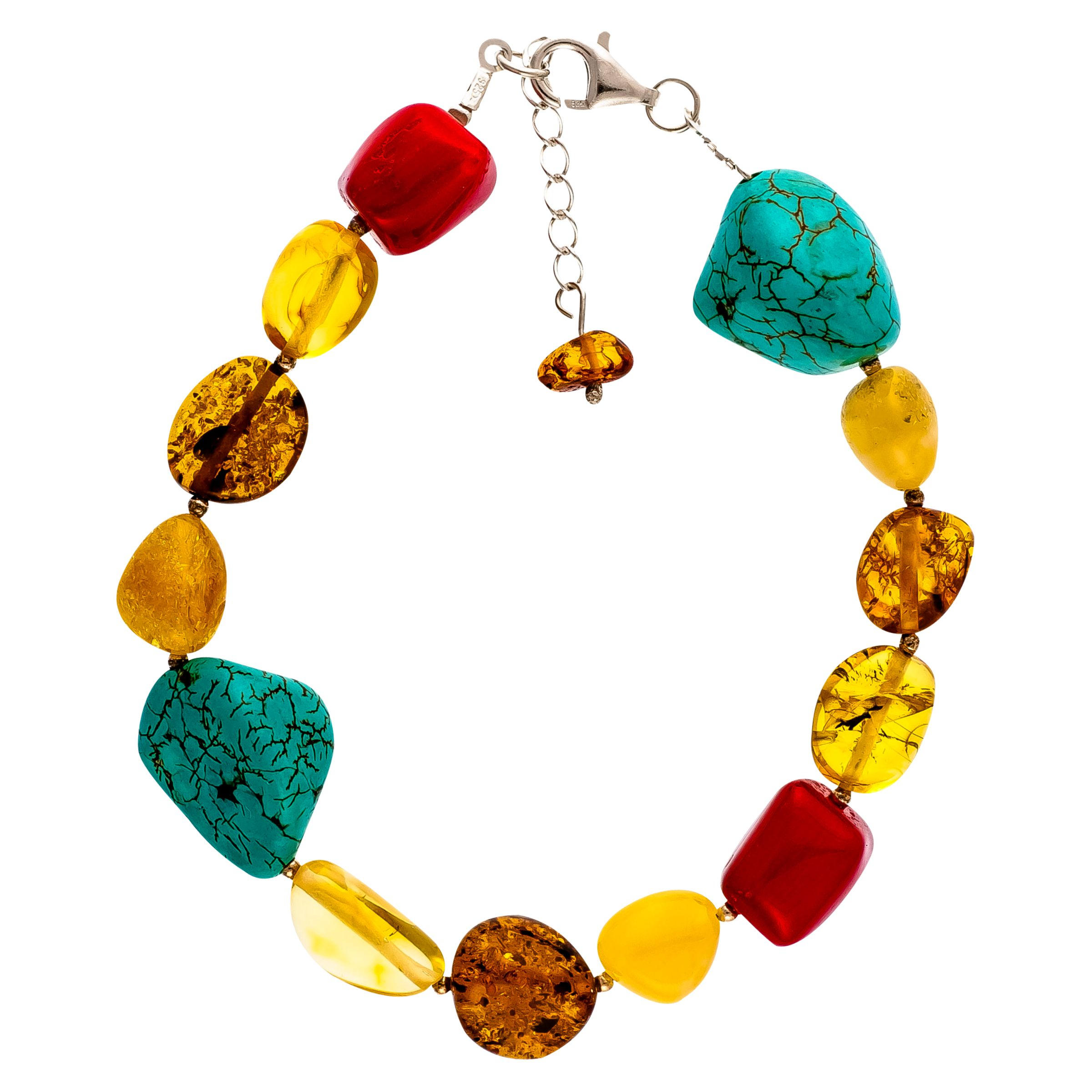 Be-Jewelled Be-Jewelled Sterling Silver Amber Bracelet, Multi