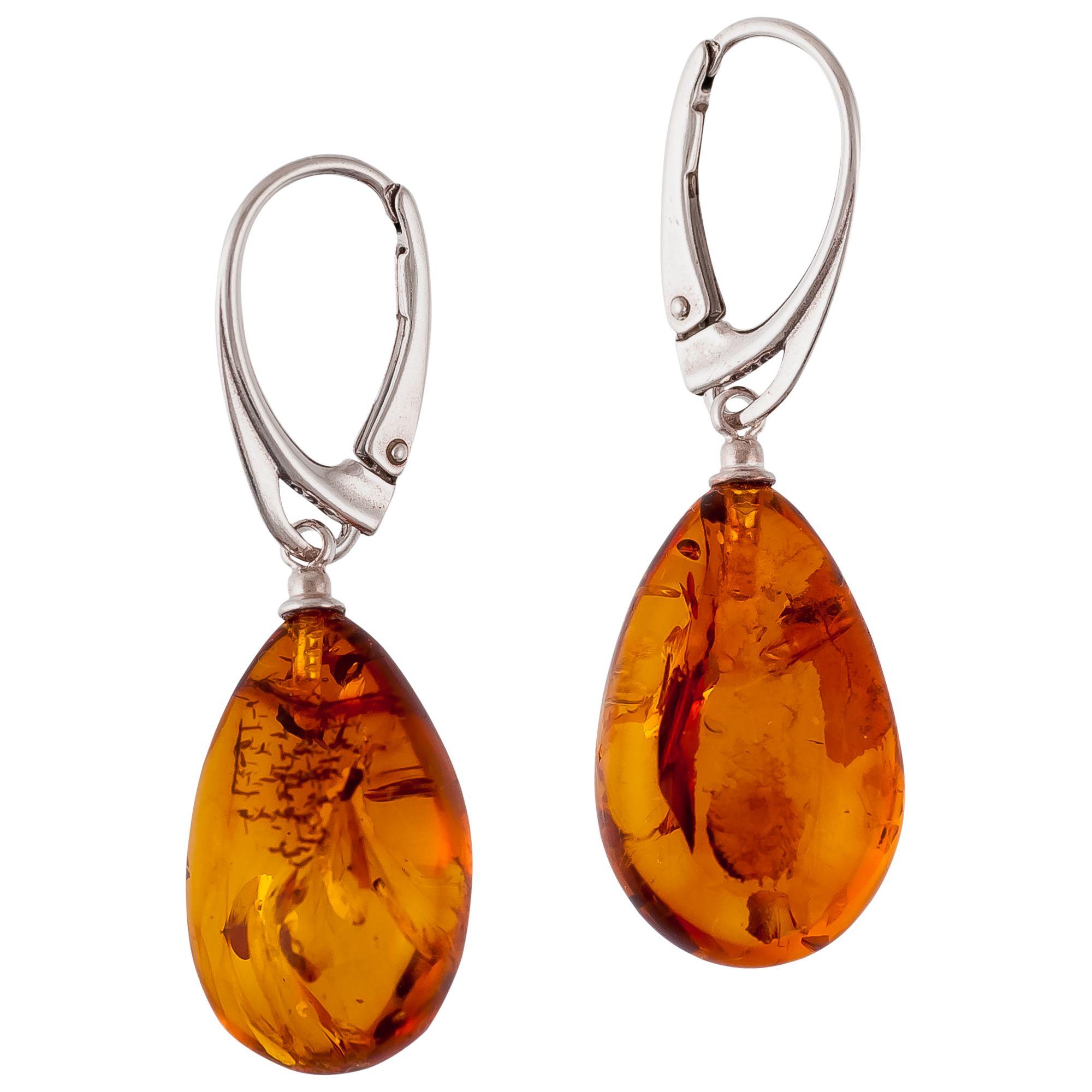 Be-Jewelled Be-Jewelled Sterling Silver Amber Pear Drop Earrings, Silver/Cognac