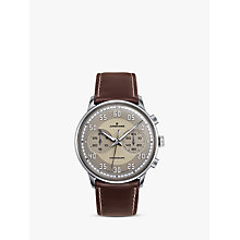 Buy Junghans 027/3684.00 Men's Meister Driver Chronoscope Leather Strap Watch, Brown/Grey Online at johnlewis.com