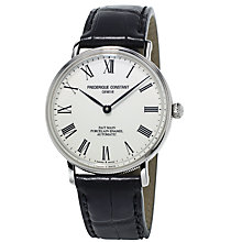 Buy Frédérique Constant FC-302P4S6 Men's Classics Art of Porcelain Leather Strap Watch, Black/White Online at johnlewis.com