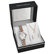 Buy Sekonda 2353G.76 Women's Two Tone Bracelet Strap Watch, Pendant Necklace and Earrings Gift Set, Silver/Rose Gold Online at johnlewis.com