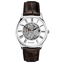 Buy Sekonda 1202.00 Men's Skeleton Leather Strap Watch, Brown/White Online at johnlewis.com
