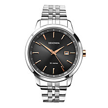 Buy Sekonda 1225.27 Men's Date Bracelet Strap Watch, Silver/Black Online at johnlewis.com