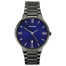 Buy Sekonda 1140.00 Men's Date Bracelet Strap Watch, Gunmetal/Indigo Online at johnlewis.com