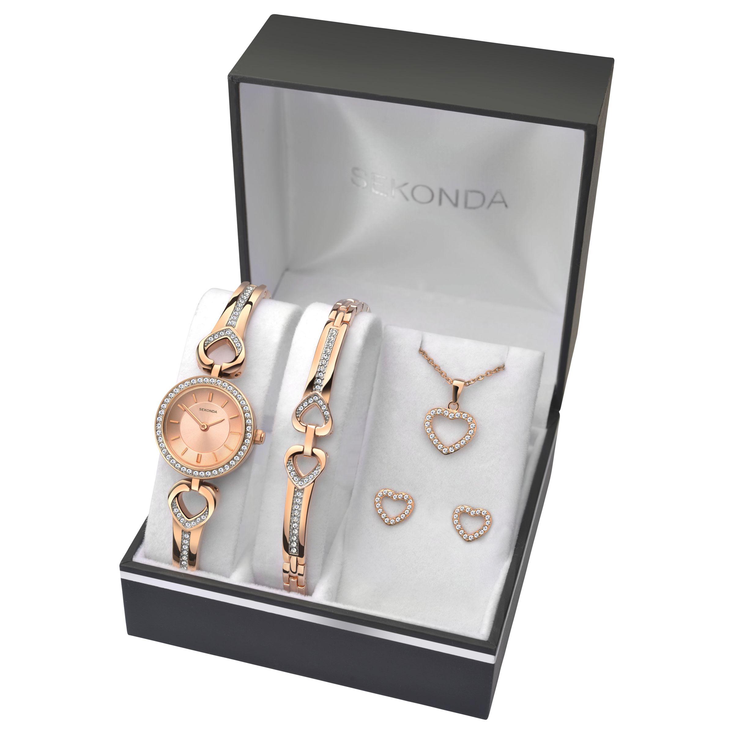 Sekonda Sekonda 2363G Women's Jewellery Strap Watch, Bracelet, Pendant Necklace and Earrings Gift Set, Rose Gold