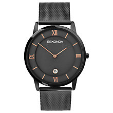 Buy Sekonda 1187.00 Men's Date Bracelet Strap Watch, Gunmetal Online at johnlewis.com