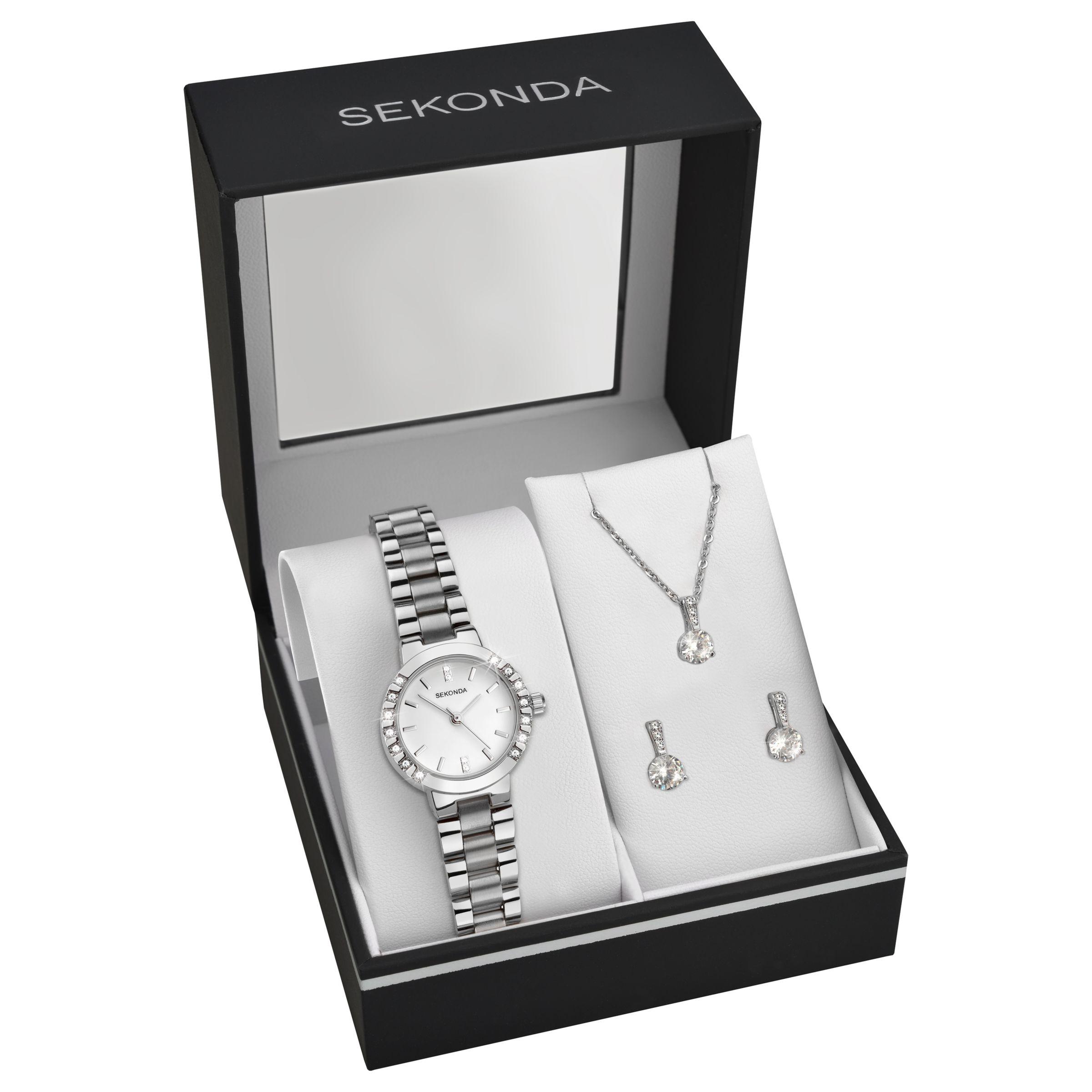 Sekonda Sekonda 2351G.76 Women's Bracelet Strap Watch, Pendant Necklace and Earrings Gift Set, Silver