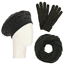 Buy John Lewis Checkerboard Snood, Beret and Gloves Set, Grey Online at johnlewis.com