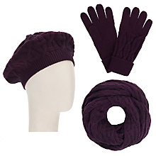 Buy John Lewis Checkerboard Snood, Beret and Gloves Set, Purple Online at johnlewis.com
