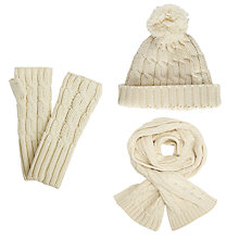 Buy John Lewis Rope Cable Knit Scarf, Pom Pom Beanie Hat and Hand Warmers Set, Cream Online at johnlewis.com