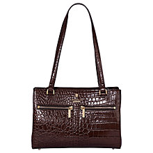 Buy Modalu Pippa Small Leather Shoulder Bag, Oyster Croc Online at johnlewis.com