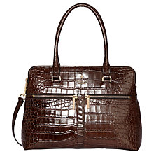 Buy Modalu Pippa Classic Leather Grab Bag, Oyster Croc Online at johnlewis.com