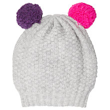 Buy Jigsaw Girls' Double Pom Knitted Hat, One Size, Grey Online at johnlewis.com