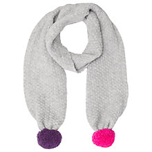 Buy Jigsaw Girls' Double Pom Knitted Scarf, Grey Online at johnlewis.com