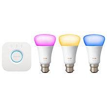 Buy Philips Hue White and Colour Ambiance Wireless Lighting LED Starter Kit, 9W B22 Bayonet Cap Online at johnlewis.com