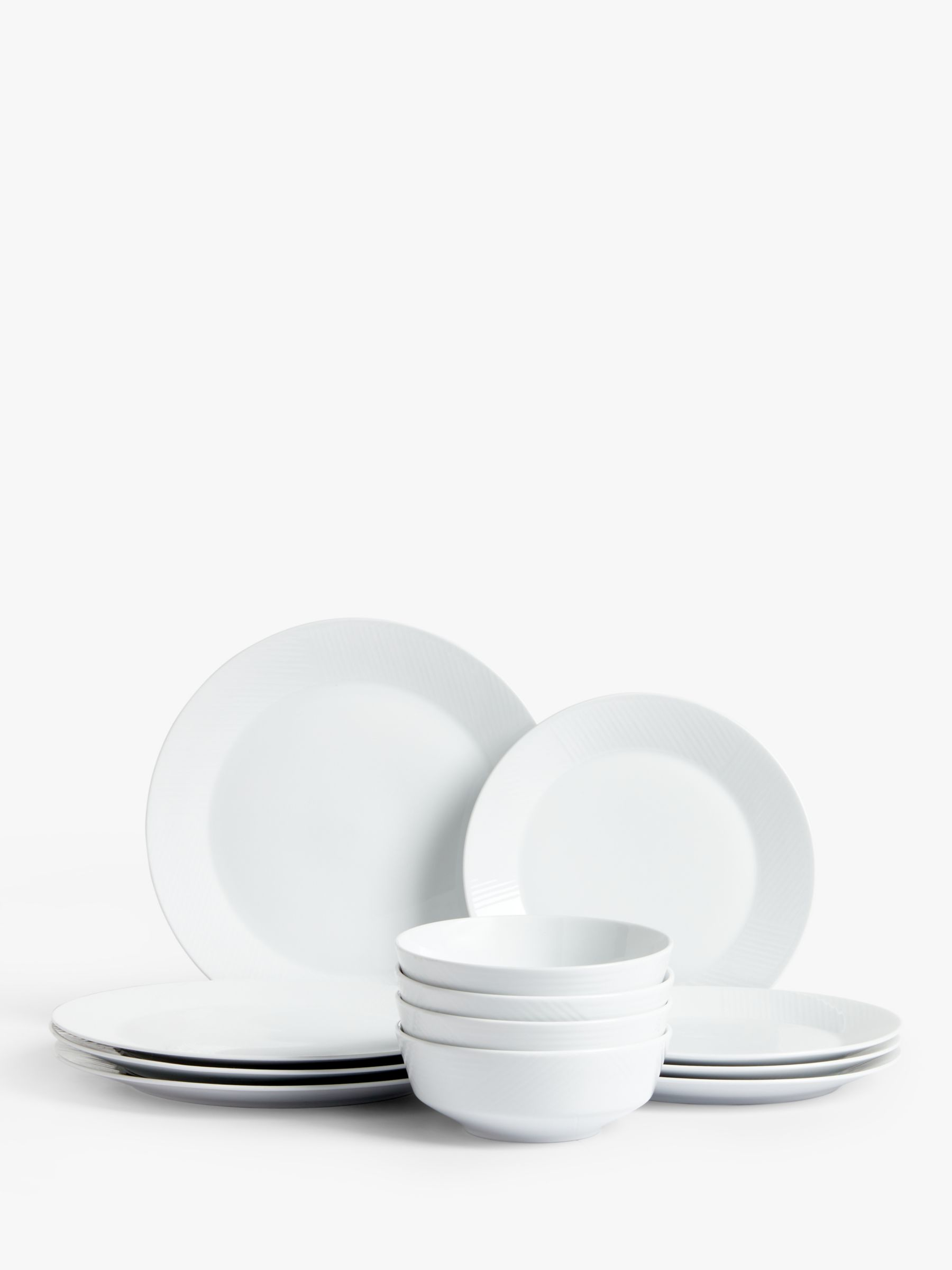 Design Project by John Lewis Design Project by John Lewis No.098 Rimmed Dinner Set, 12 Piece, White