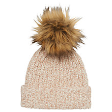Buy Whistles Knitted Marl Hat With Faux Fur Pom Online at johnlewis.com