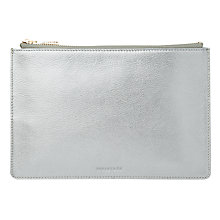 Buy Whistles Metallic Leather Small Clutch Bag, Pewter Online at johnlewis.com