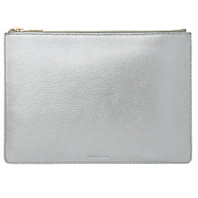 Buy Whistles Metallic Leather Medium Clutch Bag, Pewter Online at johnlewis.com